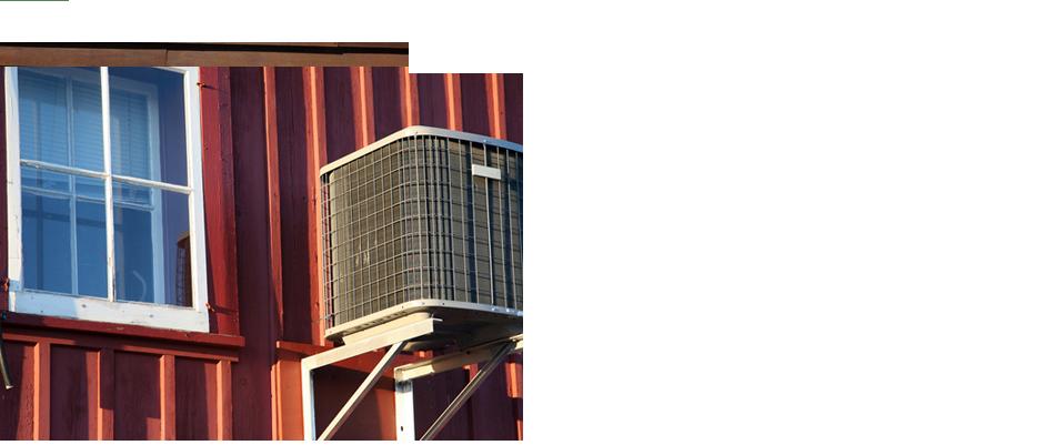 Mounted heat pump unit beside the window