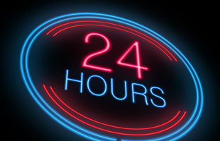24 hours pink and blue led lights signage