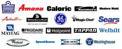 Admiral, Amana, Caloric, Kenmore, Modern Maid, Avanti, Kitchen Aid, GE, Magic Chef, Sears, Maytag, Frigidaire, Hotpoint, Tappan, Welbuilt, Whirlpool, Speed Queen, Sub-Zero, Westinghouse