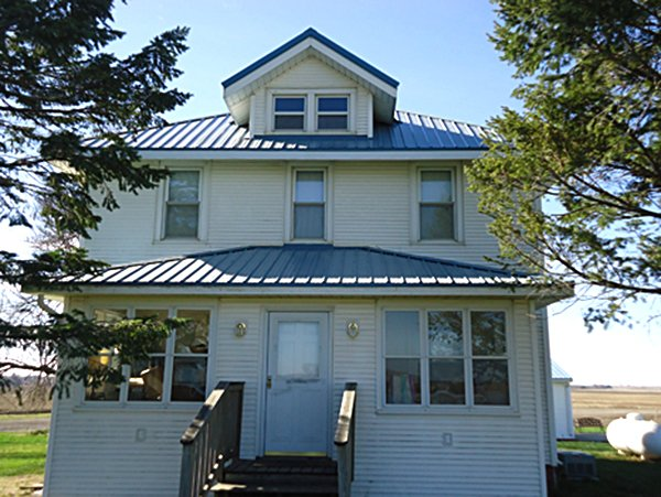 Home with metal roofing