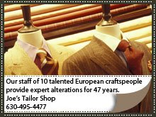 Alterations - Lombard, IL - Joe's Tailor Shop