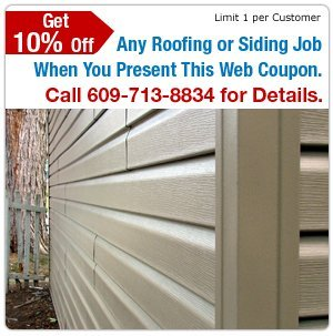 Vinyl, Wood and Cement Siding - Little Egg Harbor, NJ - Bayshore Roofing & Siding - Vinyl Siding - Get 10% Off Any Siding Job When You Present This Web Coupon. Call 609-713-8834 for Details. Limit 1 Per Customer.