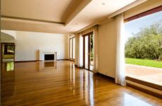 Empty big living room with wood floor