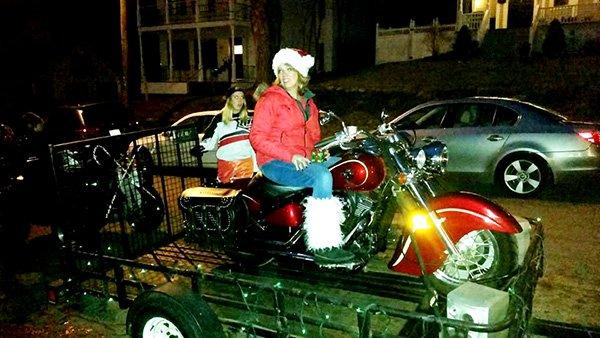 Woman on super bike