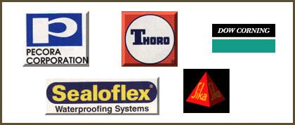 Pecora Corporation, Thoro, Dow Corning, Sealoflex and Sika