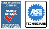 ASE Certified Technicians and State Of California LICENSED, SMOG CHECK, INSPECTION AND REPAIR STATION