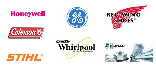 GE, Honeywell, Coleman, Whirlpool, Red Wing Shoes, Stihl, Hillman