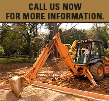 Excavator - Farmington, MO - Redmond & Sons Excavating Co - Backhoe - Call us now for more information.