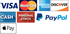Visa, MasterCard, American Express, Discover, Cash, Personal Check, PayPal, Apple Pay