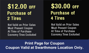 3J's Discount Tire Center Coupons - Swarthmore, PA