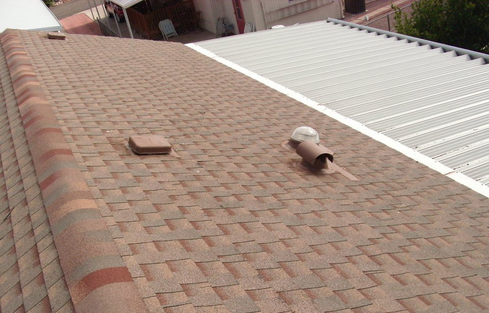 completed roofing service for a residential house
