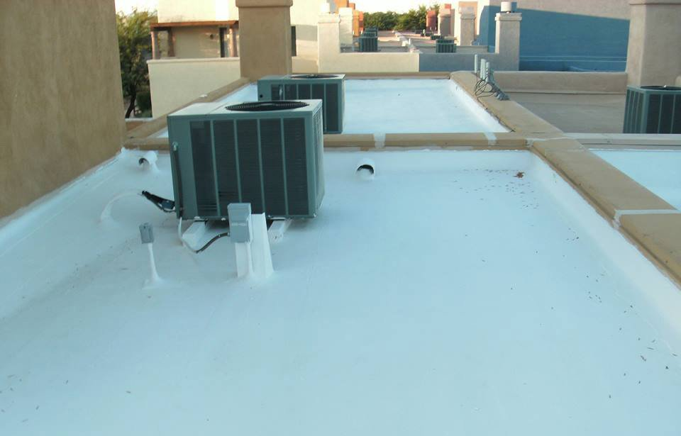 blue flat roofing made by Durazo's Roofing LLC