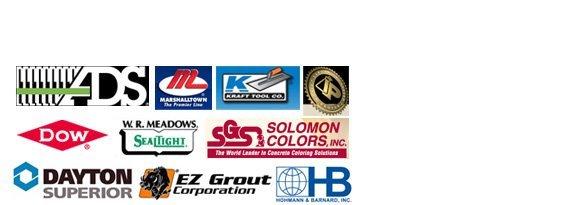 ADS Pipe, Marshalltown, Kraft Tool, Prosco, Dow, W.R. Meadows, Solomon Colors, Dayton Superior, EZ Grout, HB