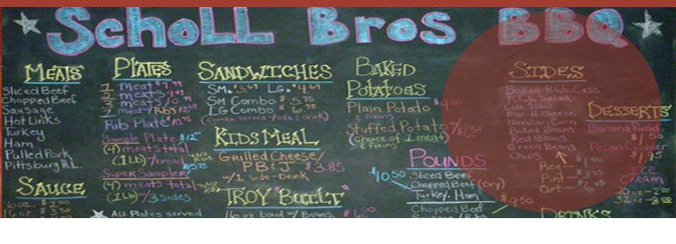 Scholl Bros Bar-B-Que menu