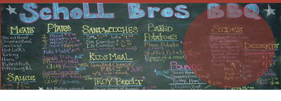 Scholl Bros Bar-B-Que menu
