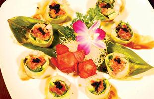 Mizu Sushi's sushis on plate