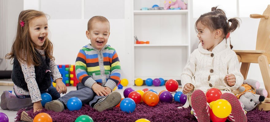 three kids playing