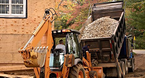 Dump truck with crushed stone