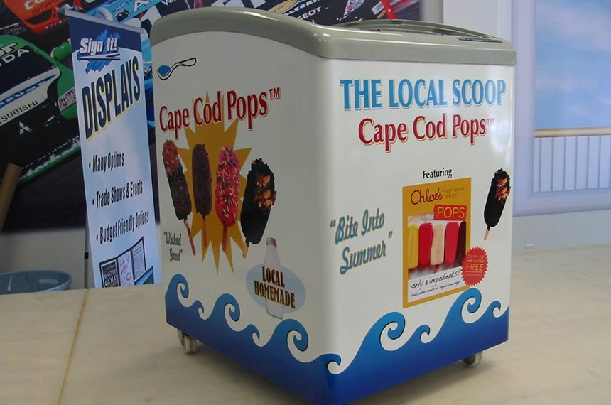 Cape Cod Pops signage printed in a cooler