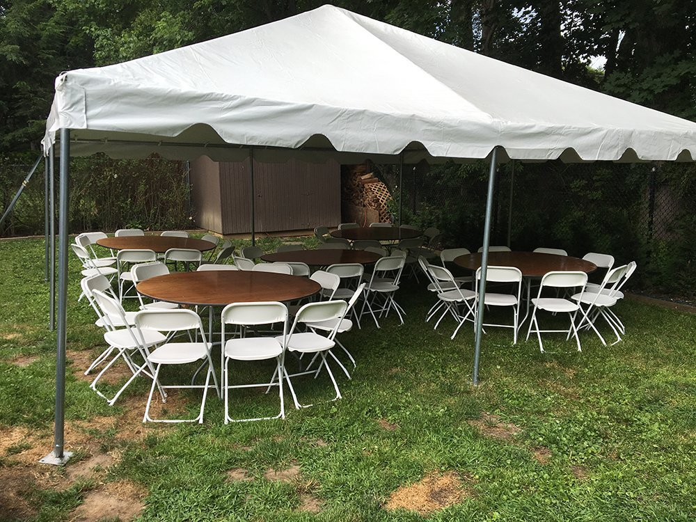 Tent, table and chairs