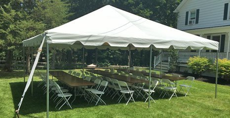 Tent, tables, and chairs