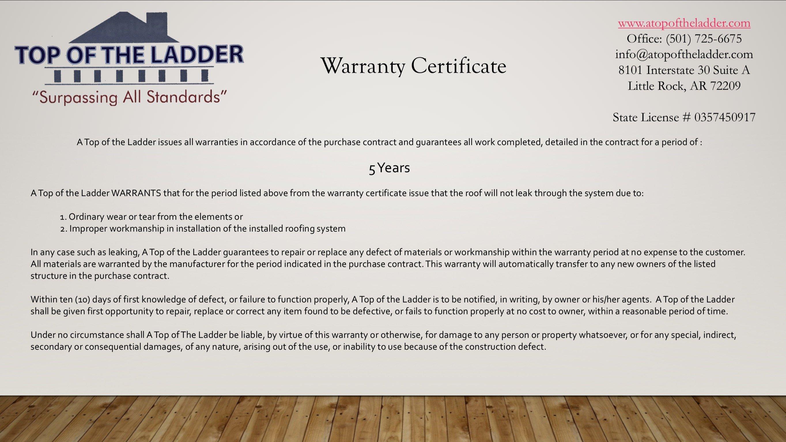Roofing Warranties Templates Amp Workmanship Warranty Sc 1