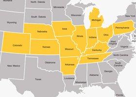 Wolke Nursery - Service Area Map