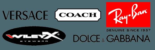 Versace, Dolce & Gabbana, Coach, Ray Ban, Wiley X, Ed Hardy Logo