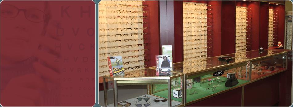 Eyeglasses display at Burton location