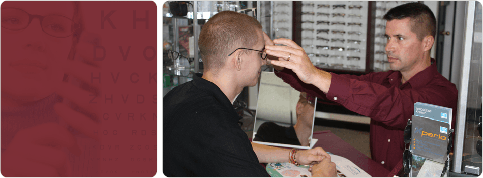 Optometrist assist his patient on eyewear fitting