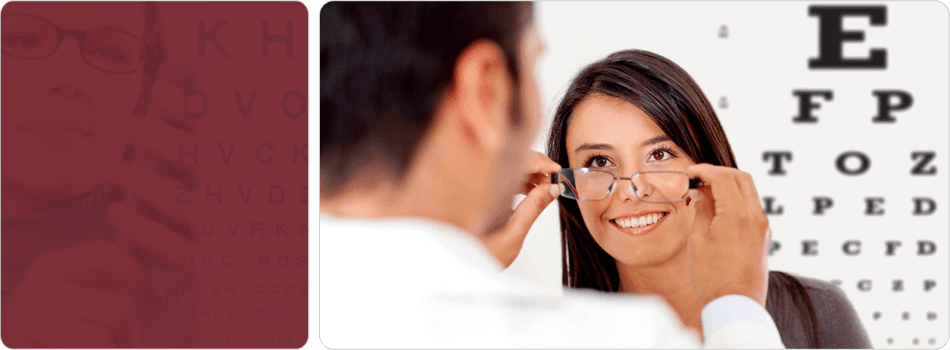 Optometrist examining patient's vision