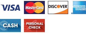 Visa, MasterCard, Discover, American Express, Cash, and Personal Check