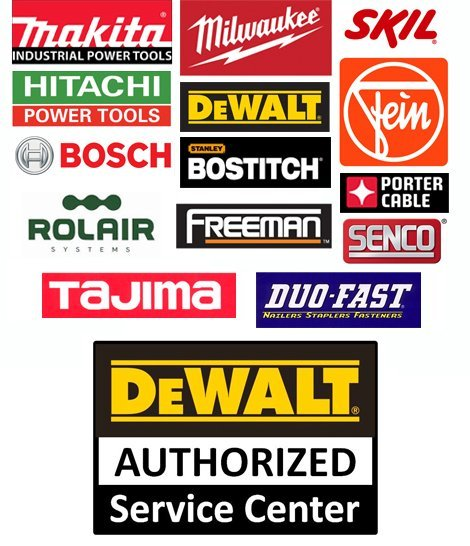 Makita, Hitachi, Bosch, Freeman, Milwaukee, DeWalt, Bostitch, Rolair, Tajima, Skil, Fein, PorterCable, Senco, Duo-Fast