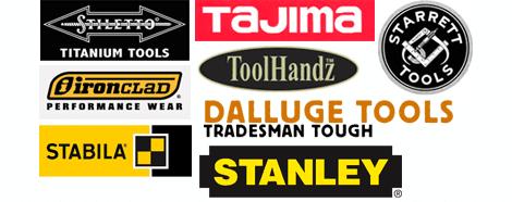 Stiletto, Tajima, Starrett Tools, Ironclad, ToolHandz, Dalluge Tools, Stabila, Stanley