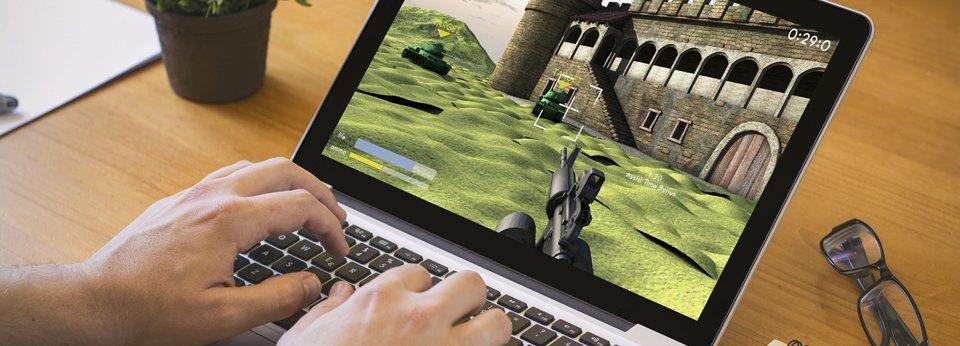 People gaming on laptop