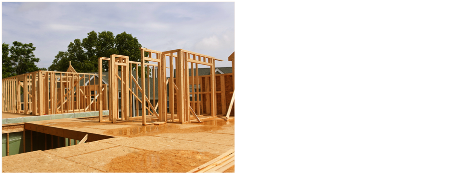 Wooden frames of a house under construction