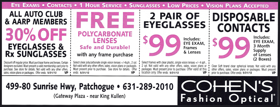 Cohen's Fashion Optical Coupons - Patchogue, NY  - Cohen's Fashion Optical / GVS