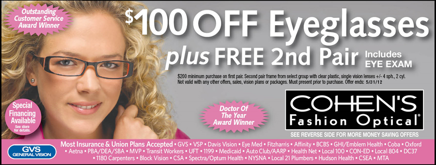 Cohen's Fashion Optical / GVS - Cohen's Fashion Optical Coupons - Patchogue, NY