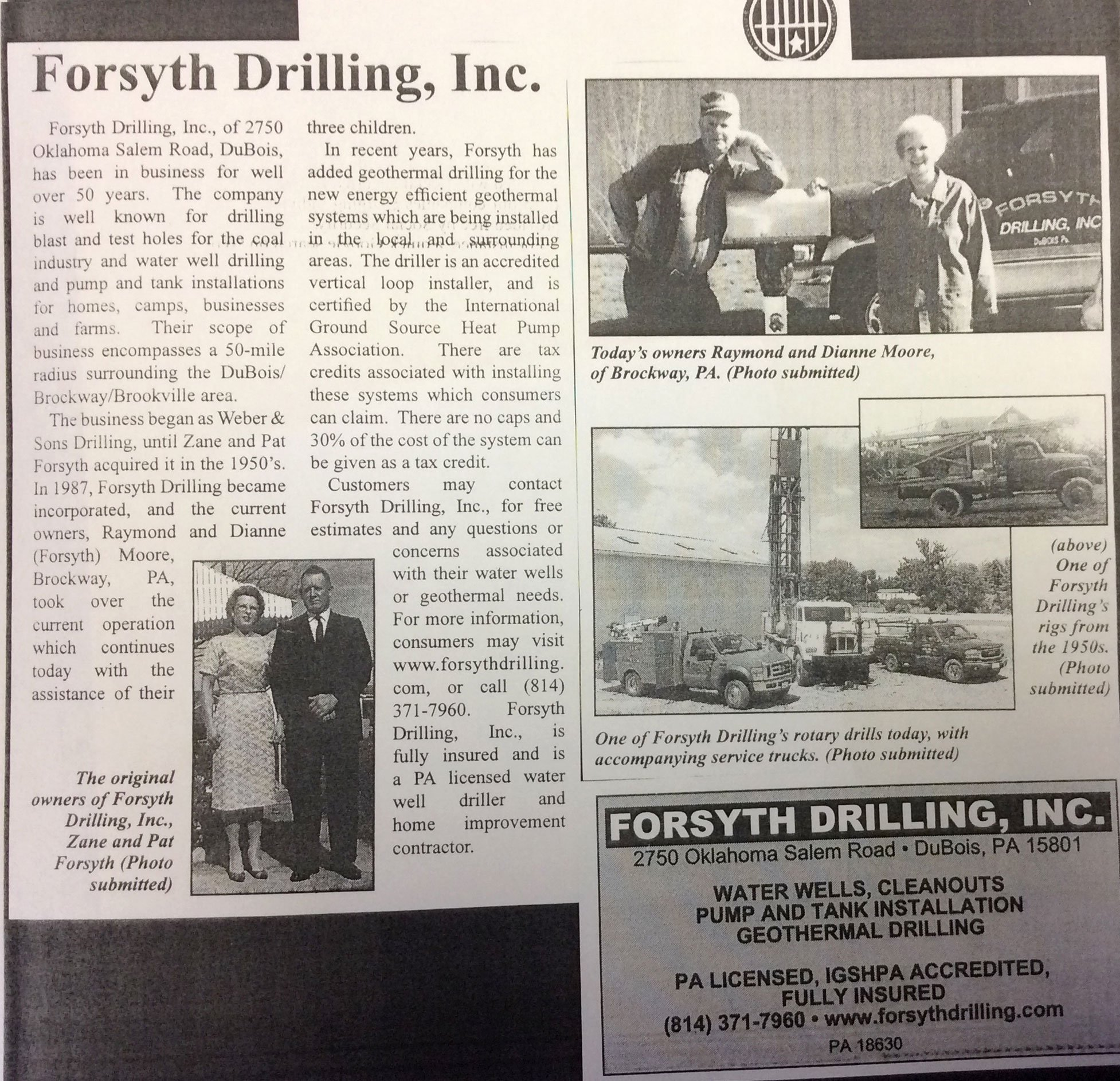 Forsyth Drilling Inc. newspaper cuttings