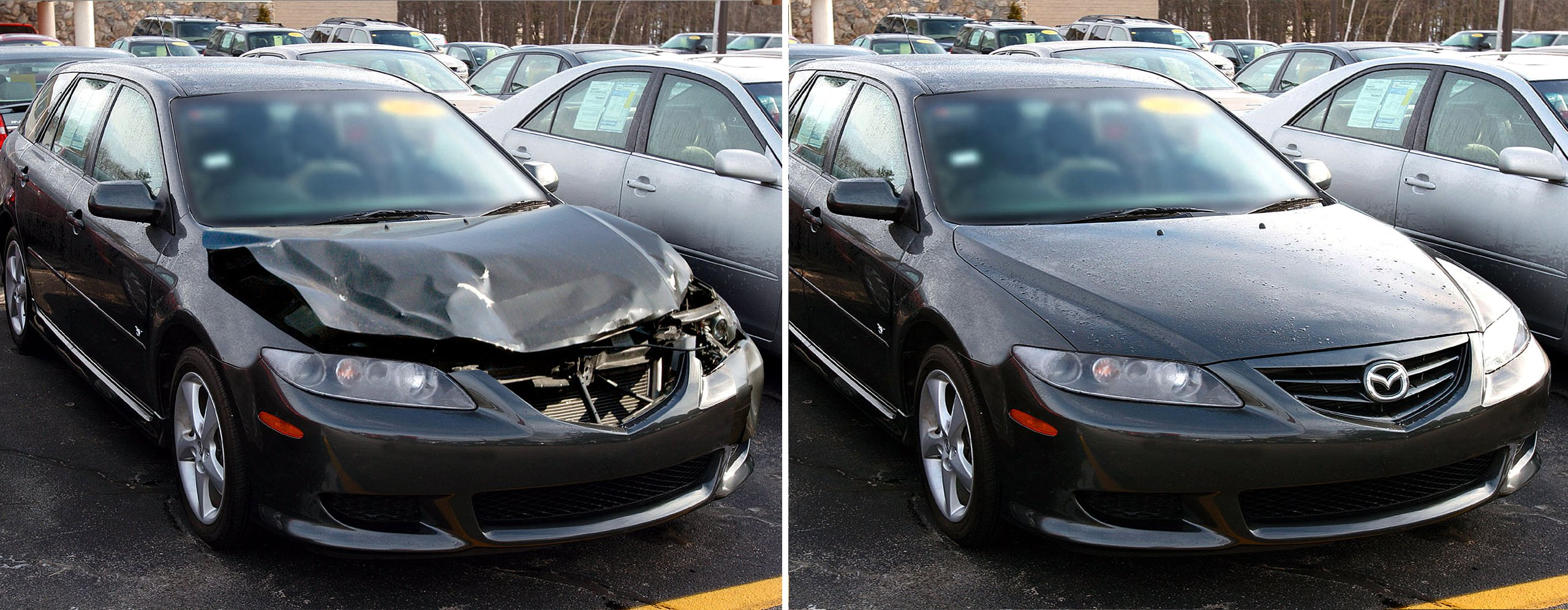 Collision car after and before