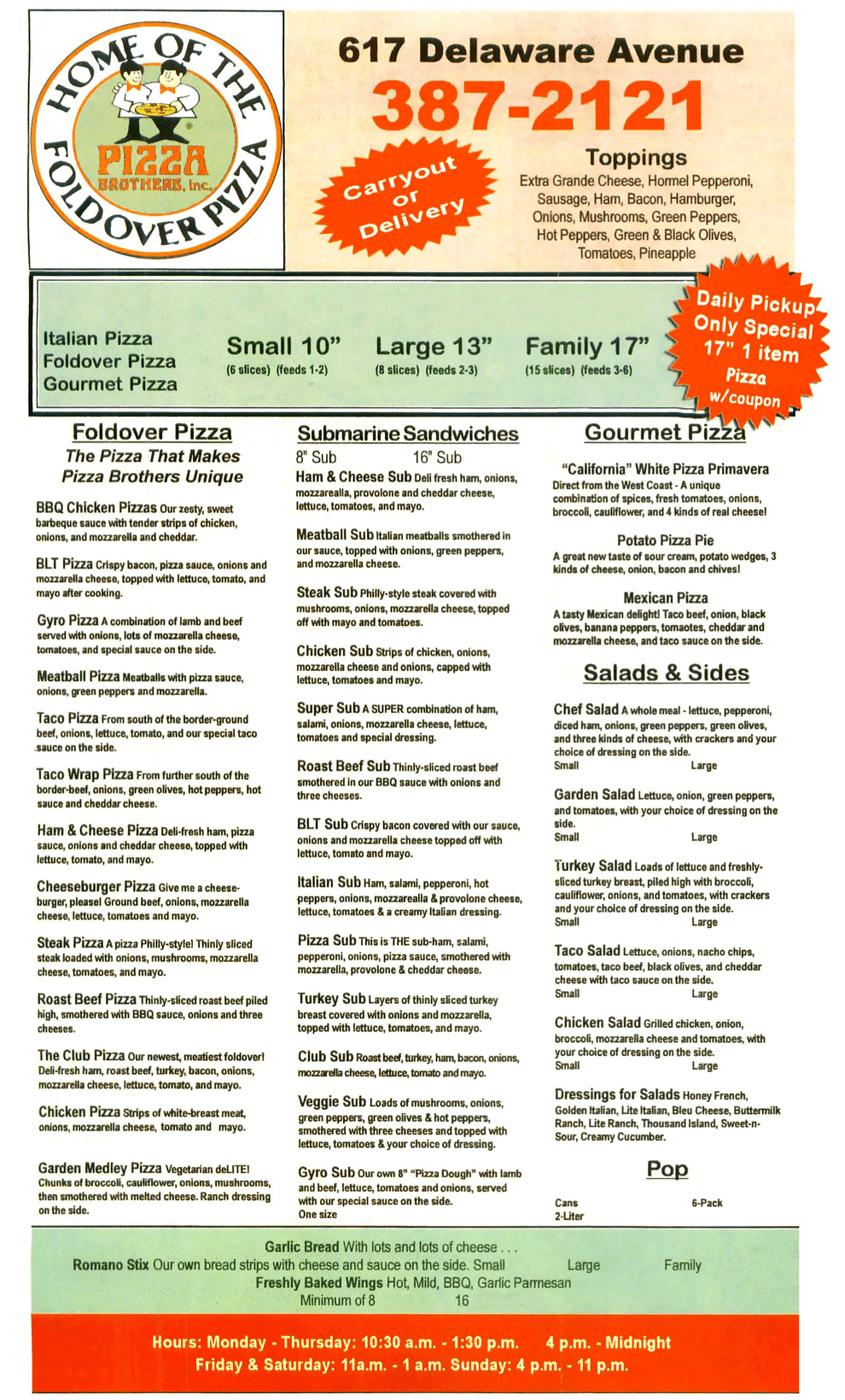 Full Pizza Menu - Marion, OH - Pizza Brothers