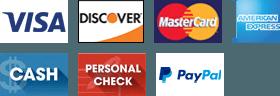 Visa, Discover, MasterCard, American Express, Cash, Personal Check, PayPal