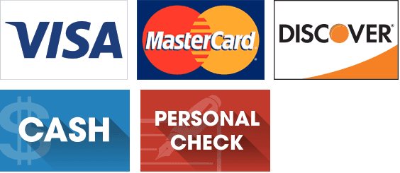 Visa, MasterCard, Discover, Cash, and Personal Check