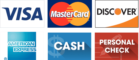 Visa, Master Card, Discover, Cash, Personal Check