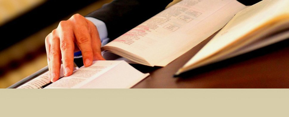 Trusted attorney reading law book