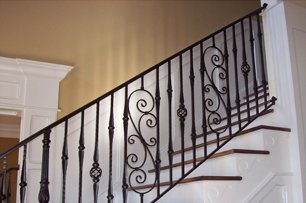 Custom iron stair railing