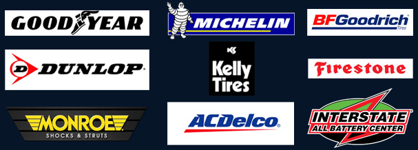 Good Year, Michelin, BFGoodrich, Dunlop, Kelly Tires, Firestone, Monroe, ACDelco, Interstate All Battery Center logos