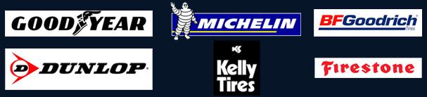 Good Year, Michelin, BFGoodrich, Dunlop, Kelly Tires, Firestone logos