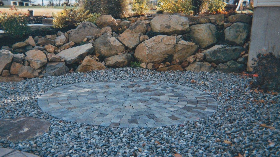 Stone brick patio