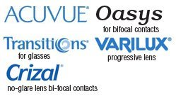 Accuvue, Oasys for bifocal contacts Transitions for glasses, Varillux progressive lens, Crizal no-glare lens bi-focal contacts